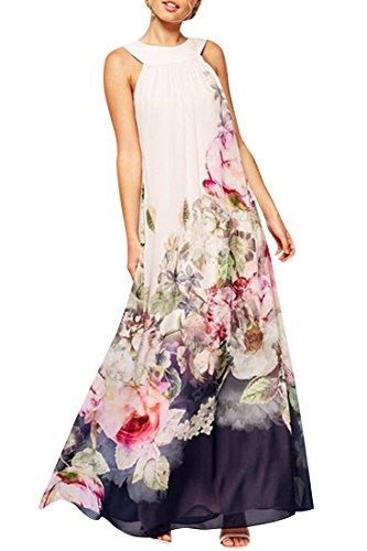 ACHICGIRL Stylish Floral Halter Top Maxi Dress Multicolored