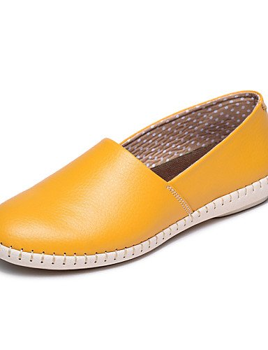 ZQ gyht Scarpe Donna-Mocassini-Tempo libero / Casual-Punta arrotondata-Piatto-Di pelle-Nero / Giallo / Rosso / Arancione / Borgogna , orange-us8.5 / eu39 / uk6.5 / cn40 , orange-us8.5 / eu39 / uk6.5 / black-us6.5-7 / eu37 / uk4.5-5 / cn37
