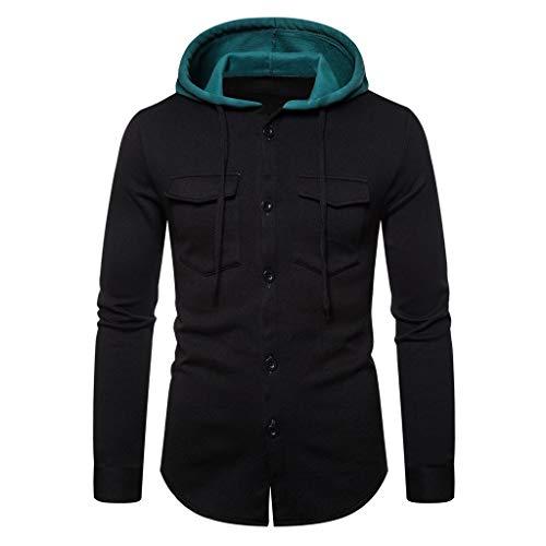 Crazboy Herren Männer Herbst Winter Lange Ärmel Mit Kapuze Sweatshirt Gedruckt Solide Outwear Tops Bluse(XX-Large,Schwarz-A)