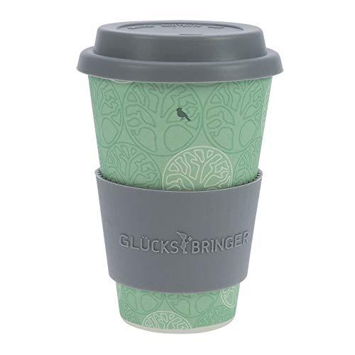 ebos Glücksbringer Coffee-to-Go-Becher aus Bambus | Kaffe-Becher, Trink-Becher | wiederverwendbar, natürliche Materialien, umweltfreundlich, spülmaschinengeeignet (Baum des Lebens Mint) -