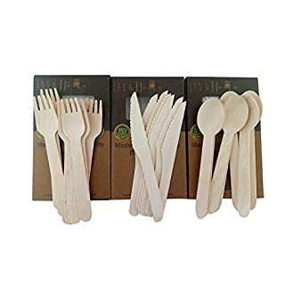Wooden Cutlery Set Disposable Utensils Forks Knives Spoons All Natural Eco Friendly Birchwood Great Alternative For plastic (150)