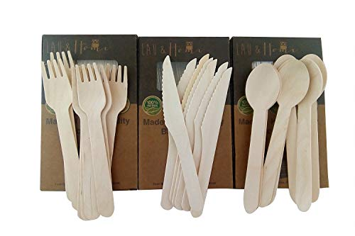 Wooden Cutlery Set Disposable Utensils Forks Knives Spoons All Natural Eco Friendly Birchwood Great Alternative For Plastic Plastic Free Shopper