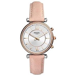 Fossil Damen Analog Quarz Smart Watch Armbanduhr mit Leder Armband FTW5039