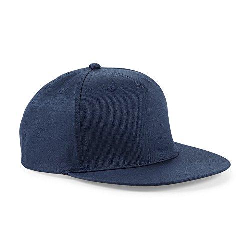 Cappellino Con Visiera Piatta Uomo Cappello Rapper Beechfield Regolabile Cotone, Colore: Navy, Taglia Unica