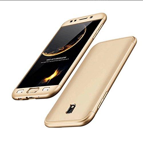 Samsung Galaxy J3 2017 Hülle Hardcase 3 in 1 Handyhülle Ultra Dünn Hartschale 360 Grad Full Body Schutz Handytasche Backcover Schutzhülle Anti-Kratzer Elegant Stoßfest Hart PC Skin Rückdeckel Glatte Bumper - Gold (Libelle-pen Gehäuse)