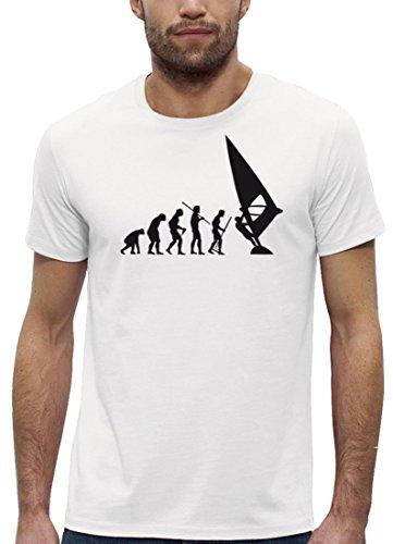 Surfer Premium Herren T-Shirt aus Bio Baumwolle EVOLUTION WINDSURFEN Marke Stanley Stella White