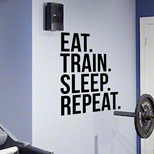 DesignDivil EAT Sleep Train Repeat Gym Wand Aufkleber Motivational Quote-Health und Fitness Spinning Kettlebell Workout Boxen UFC MMA - Quotes Inspirational Wand-aufkleber