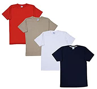 Fleximaa Men's Cotton Round Neck T-Shirts (Pack of 4) - Biscuit, Navy Blue, Red & White Colors.(rbis-nblue-red-whi-s)
