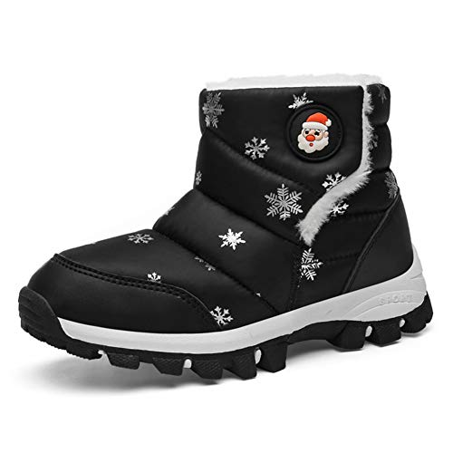 KVbabby Girls Snow Boots Winter Warm Snowproof Outdoor Non-Slip High Top Booties Fur Lined Ankle Walking Hiking Shoe