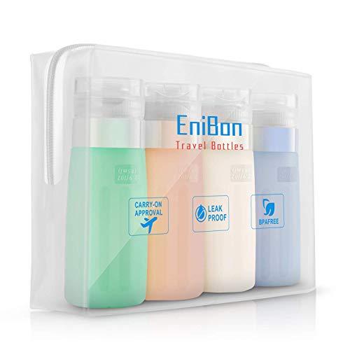 ENIBON Silikon Reise Flaschen Set & Kulturbeutel, BPA frei Auslaufsichere Portable Travel Zubehör für Shampoo Creme Spülung Körperpflege Toilettenartikel, Lotion, Conditioner