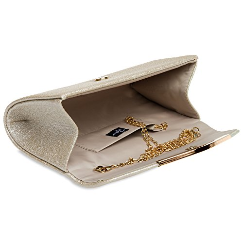 CASPAR TA370 elegante Damen Envelope Clutch Tasche / Abendtasche mit langer Kette Champagner