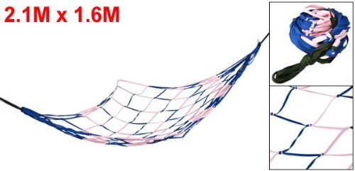 DealMux Pink Blue Nylon Mesh Garden Swing Net Bedrooms Sleeping Hammock 2.1 x 1.6 DealMux  3