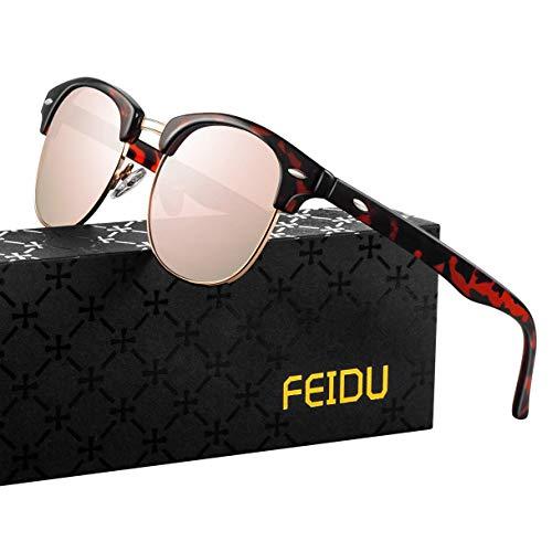FEIDU Halbrahmen Polarisierte Klassische Metall Sonnenbrillen Herren-Retro Polarisierte Sonnenbrille Damen FD 3031 (Leopard-rosa, 2.04)