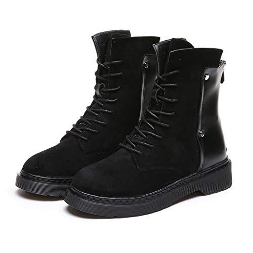 Xinantime Botas de Mujer Cuero Militares Botines Zapatos Nieve Piel Forradas Calientes Planas Combate Militare Boots Planos Botines Casual Plataforma Calzado Deportivo Botas de Remaches Punk Frescos