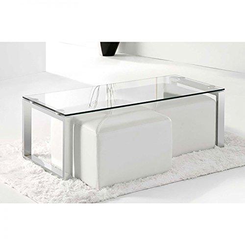 Mesa de centro de cristal, color acero