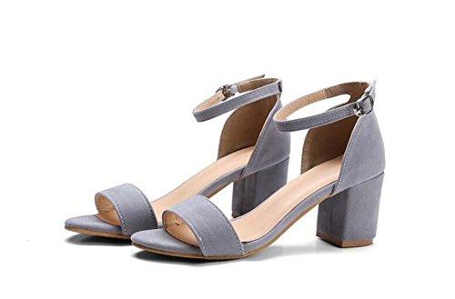 Pompe Scrub Buckle Sandals grosso tacco medio eleganti punta rotonda donne comode Casual Shoes semplici Europa formato standard 34 35 36 37 38 39 40 41 42 43 Red