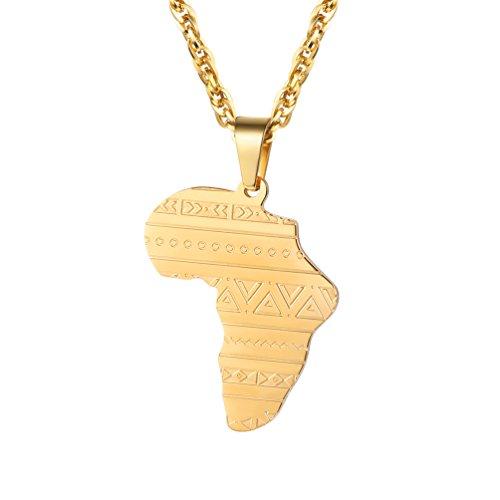 PROSTEEL 18k vergoldet Herren Halskette Afrika Landkarte Anhänger mit Kette Stammes Ethnisch Afrika Landkarte Modeschmuck für Männer Jungen