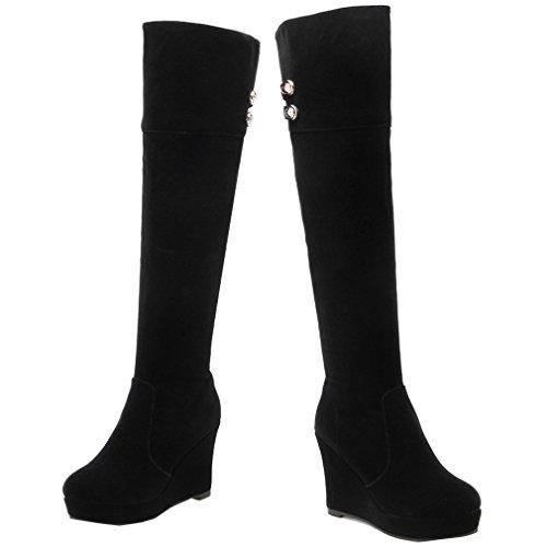ENMAYER Femmes Nubuck Bout Rond Platform Wedge Heel Au Cours Des Cuissardes Avec Zipper Noir