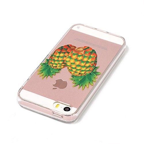 iPhone SE Hülle,iPhone 5S Case,iPhone 5 Silikon Cover Felfy Ultra Dünne Slim Full Body Soft Gel TPU Silikone Case Lichtdurchlässig Transparent mit Schöne Bunte Muster Malerei Design Case Rückschale Sc Ananas Hülle