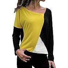 Blusa Moda Patchwork Casual para Mujer Color Block O-Neck Manga Larga Camiseta Tops ❤