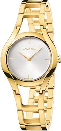 Calvin Klein Damen Analog Quarz Uhr mit Edelstahl Armband K6R23526