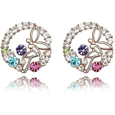 TAOTAOHAS cristallo orecchini della vite prigioniera [ farfalla in fiore], 18KGP Rhinestone