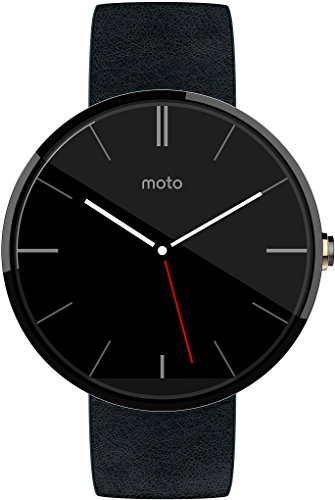Motorola Moto 360 Smartwatch (dunkles Edelstahlgehäuse mit schwarzem Echtlederarmband)