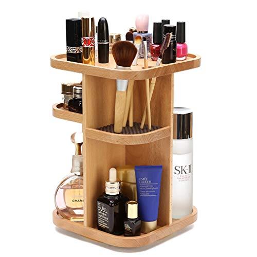 Etagère de Rangement Pivotant pour Maquillage, Coffret À Bijoux de Comptoir pour Cosmétiques, Pinceaux, Fond de Teint, Accessoires, Hêtre
