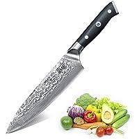 SHAN ZU Couteau de Damas de Chef en Acier Damas Japonais 67 Couche Acier Couteaux de Cuisine