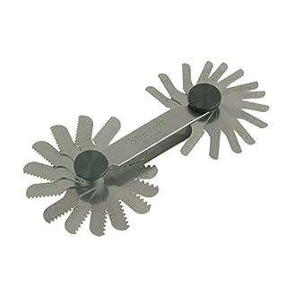 Starrett 156M Screw Pitch Gage mit Verriegelung, 0,25-2,5Fäden pro Millimeter, 28Blätter