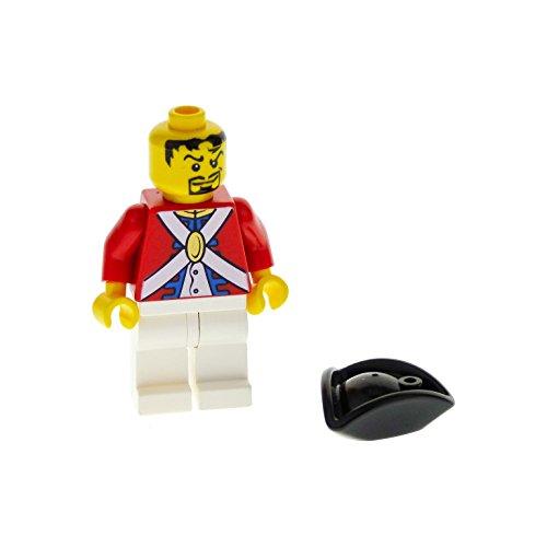 1 x Lego System Figur Mann Soldat rot weiss Pirates II Imperial Soldier II - Offizier mit Spitzbart Dreieck Hut pi122