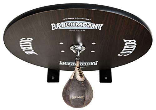 Premium Speedball Plattform Set inkl. Drehkugellagerung schwarz und Rindsleder Boxbirne med. braun/Boxapparat für die Wandmontage BCA-40