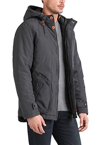BLEND Polygon Herren Parka lange Winterjacke mit Kapuze aus hochwertiger Materialqualität Ebony Grey (75111)