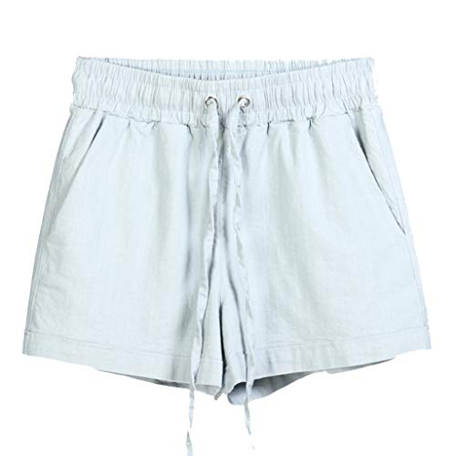 WOZOW Damen Kurze Hose Shorts Solid Bettwäsche Baumwolle Kordelzug Zug Tie Riemchen Lose Loose A Line Chino Hose Casual Strand Beach Mini Hosen Sommer (4XL,Light Grau) -