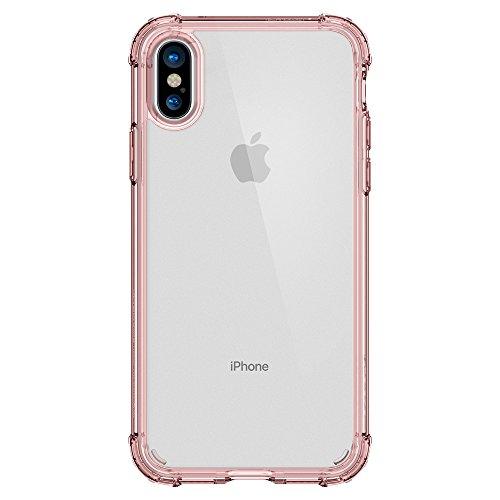 iPhone X Hülle, Spigen® [Crystal Shell] Extra Kantenschutz [Clear Crystal] Durchsichtige PC Rückschale und Ausgeführtes Kanten Schock Absorption Silikon TPU-Bumper Transparent Handyhülle Schutzhülle f CS Rose Crystal