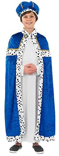 Weiser Blau Kostüm Mann - Jungen Blau Weiser Mann Herren 3 Kings Weihnachten Krippe Verkleidung Kostüm Outfit 4-12 Jahre - 4-6 Jahre