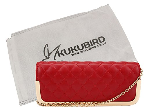 Kukubird Ruby mince Quilted Clutch Bag Purse Prom Party avec sac à poussière Kukubird Red