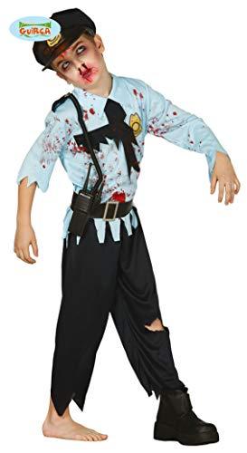 Guirca Zombie Polizist Halloween Karneval Kostüm für Jungen Untoter Tot Tod Polizei Gr. 110-146, Größe:140/146