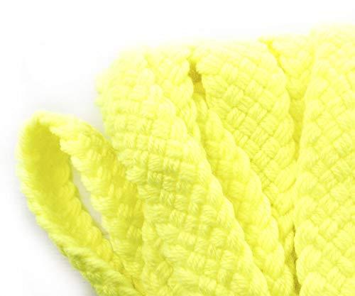 1yrd 0,9 m Yellow Neon UV-Faux Wolle-Acryl-Stoff Ribbon Flat Schnur Makramee Boho Armband Halskette Nähen Dekorative Schmuck-Herstellung 30mm