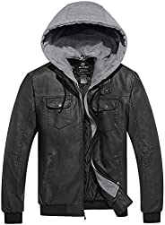 Wantdo Men's Faux Leather Jacket PU Leather Moto Jacket with Removable