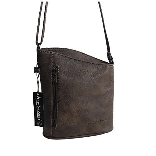 Jennifer Jones - kleine - schicke Damen Handtasche Clutch Umhängetasche Abendtasche Ausgehtasche Schultertasche - präsentiert von ZMOKA® in versch. Farben (Taupe) (Clutch Schicke)