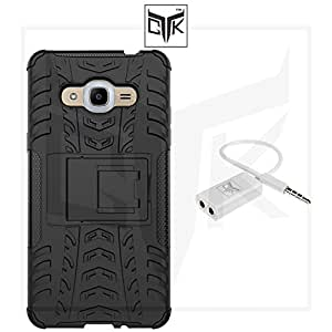 TheGiftKart Dual Layer Shockproof Armor Cover with Kick Stand and Audio Splitter for Samsung J2 (2016)