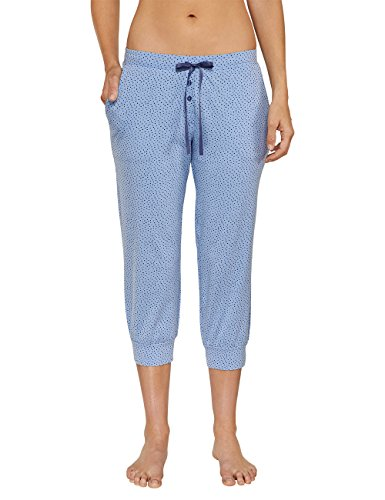 Schiesser Mix & Relax Jersey Hose 3/4 - Bas de pyjama - Femme Bleu - Blau (hellblau 805)