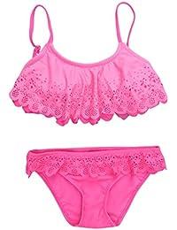 a052d9bfba87 Xinantime Costumi da Bagno Bambina Svuotare Due Pezzi Increspatura Pizzo  Bikini Set Ragazze Tinta Unita Vita