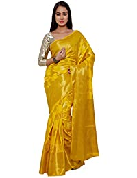 Varkala Silk Sarees Women's Art Silk Banarasi Saree With Blouse Piece(VSSND1002MD_Mustard_Free Size)