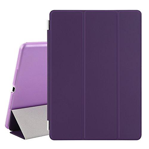 Besdata® iPad Air 2 Hülle - Ultra Dünn Edles Smart Cover Leder Case Schutz Hülle Tasche + Back Case für ipad air 2 ipad 6 - inkl. Displayschutzfolie Reinigungstuch Stift mit Multi Ständer Auto Sleep Wake (Lila, iPad Air 2)