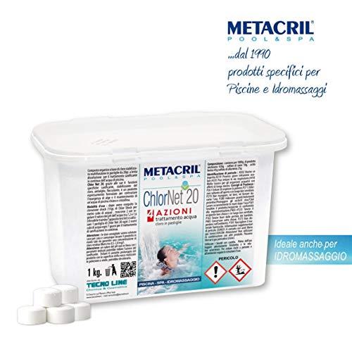 Metacril Cloro Pastiglie Piscina 1Kg. - MULTIAZIONE in pastiglie da 20gr CHLOR Net 20 4 Azioni 1kg. - Tricloro stabilizzato Attivo al 90% - Sanificante, Antialga, Flocculante a lenta dissoluzione.