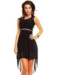 Vokuhila Kleid mit Spitze, Sommerkleid, Partykleid, Abendkleid, Cocktailkleid in verschiedenen Farben