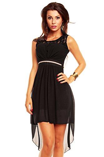 ad1992f65729 Vokuhila Kleid mit Spitze, Sommerkleid, Partykleid, Abendkleid,  Cocktailkleid schwarz