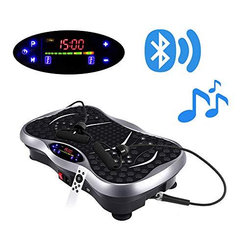 POKAR Vibrationsplatte Fitness Vibrationsgerät Ganzkörper Trainingsgerät rutschfest große Fläche inkl Trainingsbänder